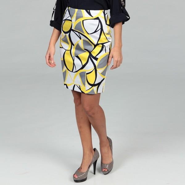 Evan Picone Women's Bright Yellow Abstract Skirt