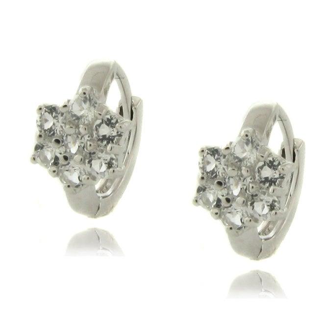 Dolce Giavonna Sterling Silver White Topaz Flower Earrings