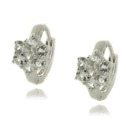 Dolce Giavonna Sterling Silver White Topaz Flower Earrings