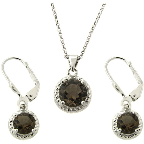 Dolce Giavonna Sterling Silver Smokey Quartz and Diamond Accent Jewelry Set
