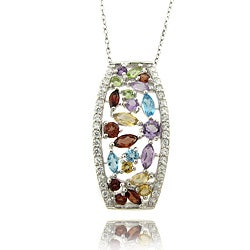 Dolce Giavonna Sterling Silver Multi-gemstone and Diamond Accent Necklace
