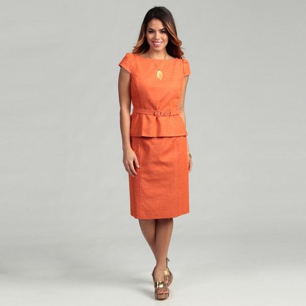 Nine West Women's Burnt Orange Belted Skirt Suit