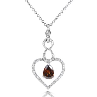 Annello 18k Gold 7/8 ct TDW Certified Brown and White Diamond Pendant (G-H, VS1-VS2)
