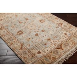 Hand-knotted Blue Fantasia Semi-Worsted New Zealand Wool Rug (5'6 x 8'6)