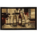 Wine And Glasses Brown Kitchen Rug (1'9 x 2'10)