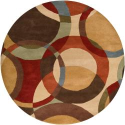 Hand-tufted Contemporary Multi Colored Circles Lev Wool Geometric Rug (9'9 Round)