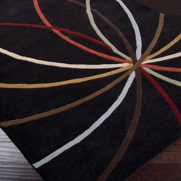Hand-tufted Black Contemporary Appert Wool Abstract Rug (6' Square)