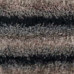Hand-woven Black Garnet Soft Plush Shag Rug (8' x 10')