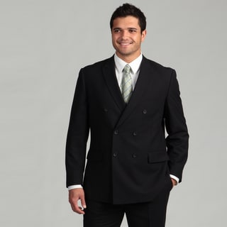 Perry Ellis Portfolio Men's Navy Striped Double-breasted Suit