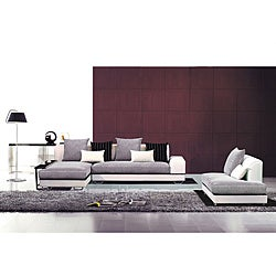 Furniture of America Theo Grey/ White 4-piece Sectional with Chaise Set