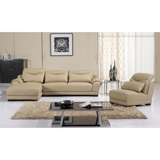 Quentin 3-piece Adjustable Backrests Sectional with Chaise and Chair Set