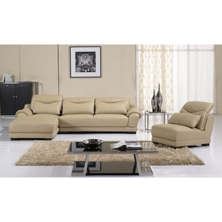 Furniture of America Quentin 3-piece Adjustable Backrests Sectional with Chaise and Chair Set