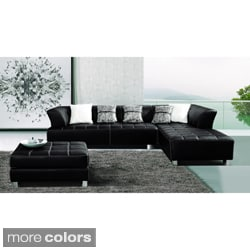 Furniture of America Rachelle 3-piece Sectional with Chaise and Ottoman Set
