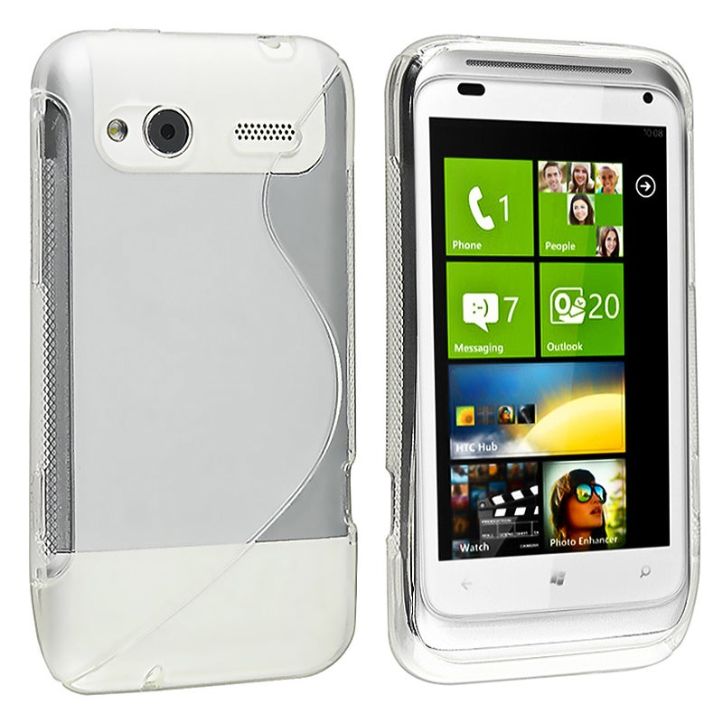 INSTEN Frost White S Shape TPU Rubber Skin Phone Case Cover for HTC Radar