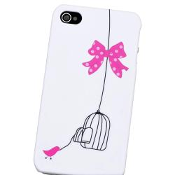 White/ Bird Cage Snap-on Rubber Coated Case for Apple iPhone 4/ 4S