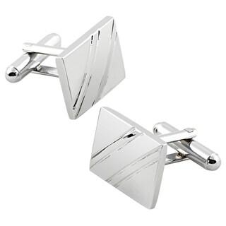 Elegant Silver Rhodium-plated PVC Square Diagonal Ribbed Cufflinks