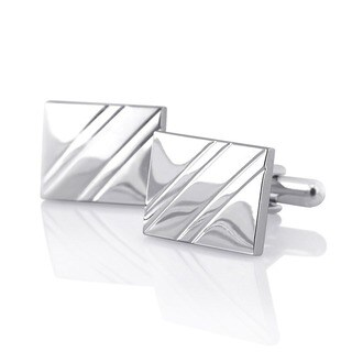 Elegant Silver Rhodium-plated PVC Square Diagonal Ribbed Cufflinks