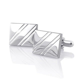 Zodaca Elegant Silver Rhodium-plated PVC Square Diagonal Ribbed Cufflinks