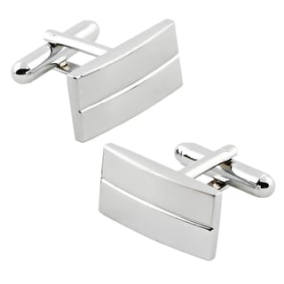 Rhodium-plated Horizontal-stripe Silver Rectangular Cufflinks