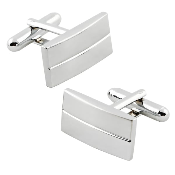Zodaca Rhodium-plated Horizontal-stripe Silver Rectangular Cufflinks