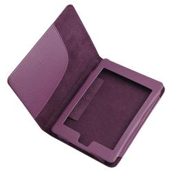 Purple Synthetic-leather Magnetic Case for Amazon Kindle Touch