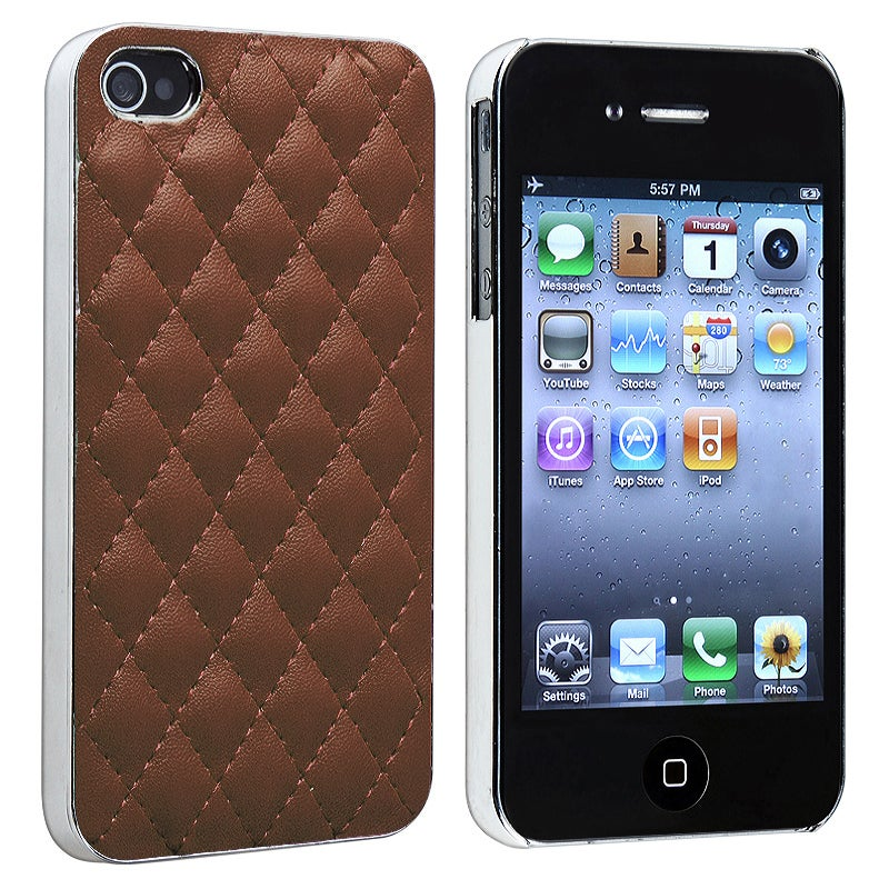 INSTEN Dark Brown Leather/ Silver Side Snap-on Phone Case Cover for Apple iPhone 4/ 4S