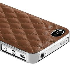 Dark Brown Leather/ Silver Side Snap-on Case for Apple iPhone 4/ 4S