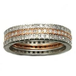 Beverly Hills Charm 10K Gold 1ct TDW 3-Piece Stackable Diamond Ring Set