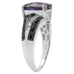 Malaika Sterling Silver Amethyst and 1/4ct TDW Black Diamond Ring