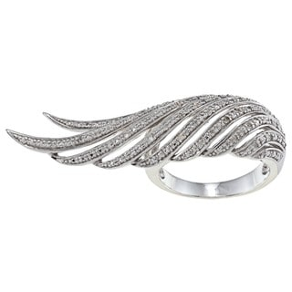 Sterling Silver 1/10ct TDW White Diamond Feather Ring (J-K, I2-I3)