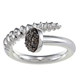 Sterling Silver 1/4ct TDW Black Diamond Screw Head Design Ring