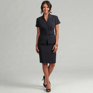 Anne Klein Women's Navy Belted Skirt Suit
