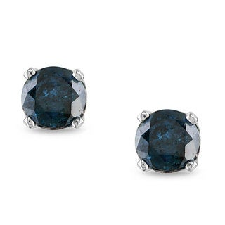 Miadora 10k White Gold 1/2ct TDW Blue Diamond Stud Earrings