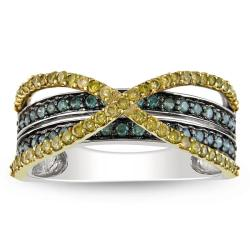 Miadora 14k Two-tone Gold 1/2ct TDW Yellow and Blue Diamond Ring