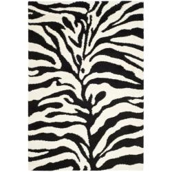 Safavieh Hand-woven Ultimate Ivory/ Black Shag Rug (8'6 x 12')
