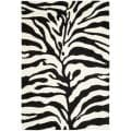 Hand-woven Ultimate Ivory/ Black Shag Rug (8'6 x 12')