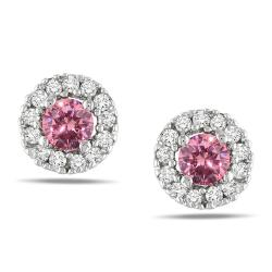 Miadora 10k White Gold 1/3ct TDW Pink and White Diamond Halo Earrings(H-I, I1-I2)
