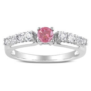 Miadora 14K White Gold 1/2Ct TDW Round-cut Pink and White Diamond Ring