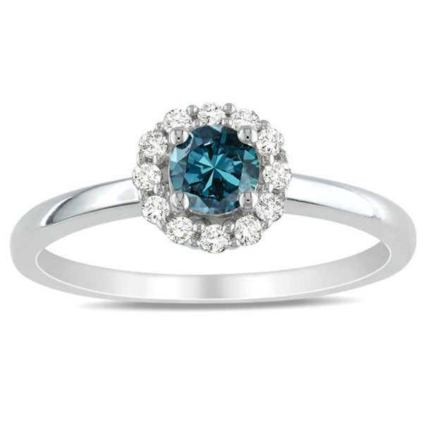 Miadora 10k White Gold 1/2ct TDW Blue and White Diamond Halo Engagement Ring (H-I, I1-I2)