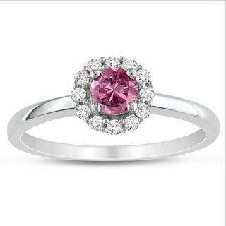 Miadora 10k White Gold 1/2ct TDW Pink and White Round-cut Diamond Ring (H-I, I1-I2)