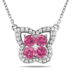 Miadora 14k White Gold 1/2ct TDW Pink and White Diamond Necklace (H-I, I1-I2)