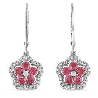 Miadora 14k White Gold 1ct TDW Pink and White Diamond Earrings (H-I, I1-I2)