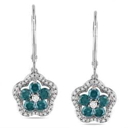 Miadora 14k White Gold 1ct TDW Blue and White Diamond Dangle Earrings (H-I, I1-I2)