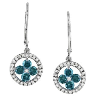 Miadora 14k White Gold 1ct TDW Blue and White Diamond Dangle Earrings (G-H, I1-I2)
