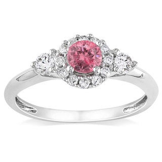 Miadora 14K White Gold 1/2Ct TDW Pink and White Diamond Women's Ring