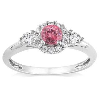 Miadora 14K White Gold 1/2Ct TDW Pink and White Diamond Women's Ring