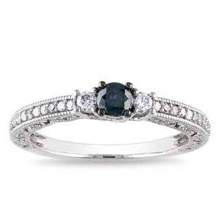 Miadora 14k White Gold 1/2ct TDW Blue Diamond Ring (H-I, I1-I2)