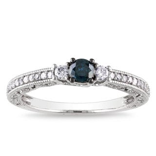 Miadora 14k White Gold 1/2ct TDW Blue and White Diamond Ring (H-I, I1-I2)