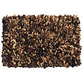 Premium Leather Brown/ Tan Shag Rug (2' x 6')