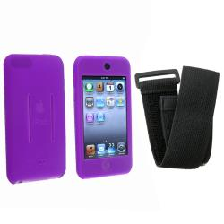 INSTEN Purple/ Black Skin iPod Case Cover w/ Armband for iPod Touch